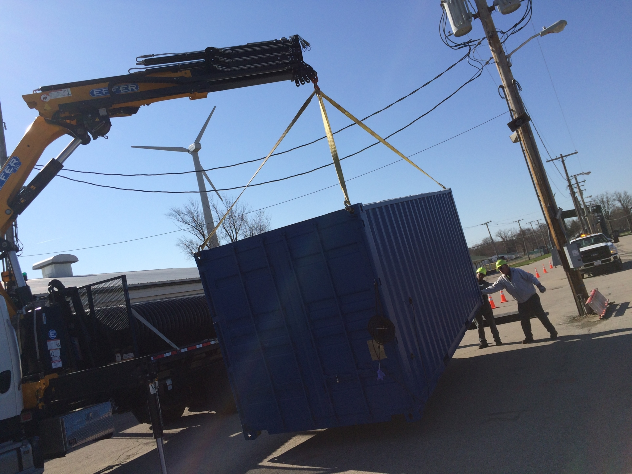 Currently, the simulator has to be placed onto a trailer with a crane to transport it. One of the improvements being worked on this year is a way to more easily transport it. (Photo courtesy of NEORSD)