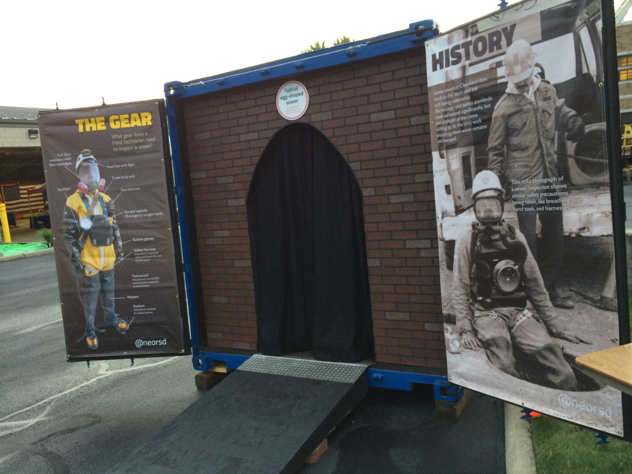 The doorway to the simulator is designed to look like the city's oldest sewer lines, and also showcases the gear workers need to safely work underground. (Photo courtesy of NEORSD)