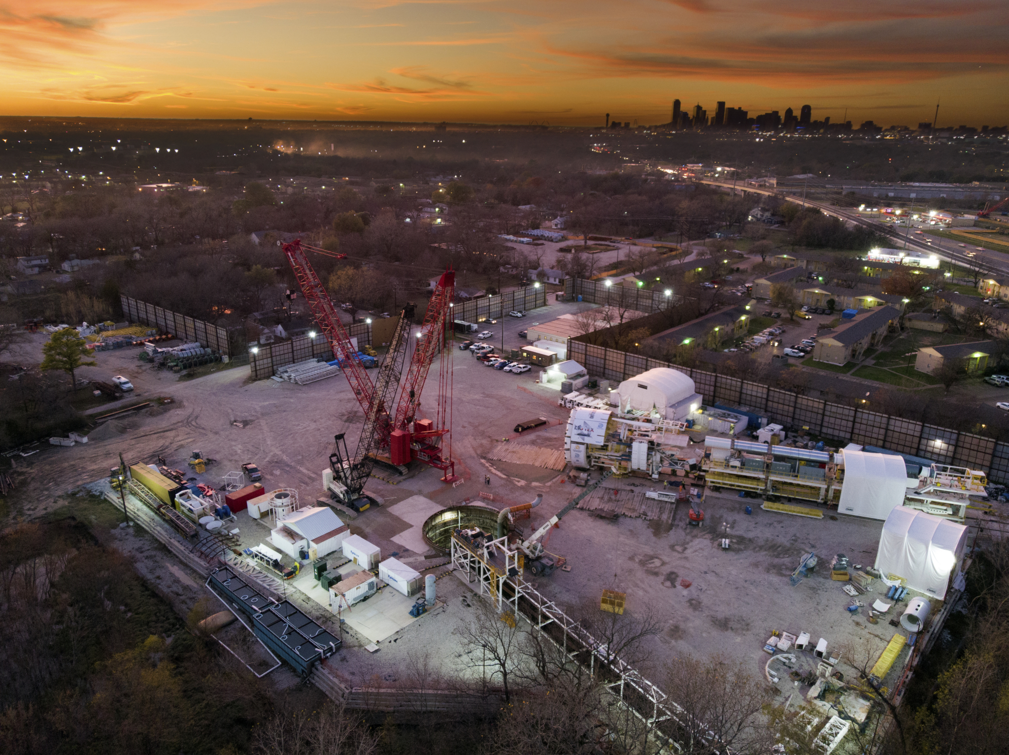 An evening shot of the Mill Creek Tunnel project grounds.