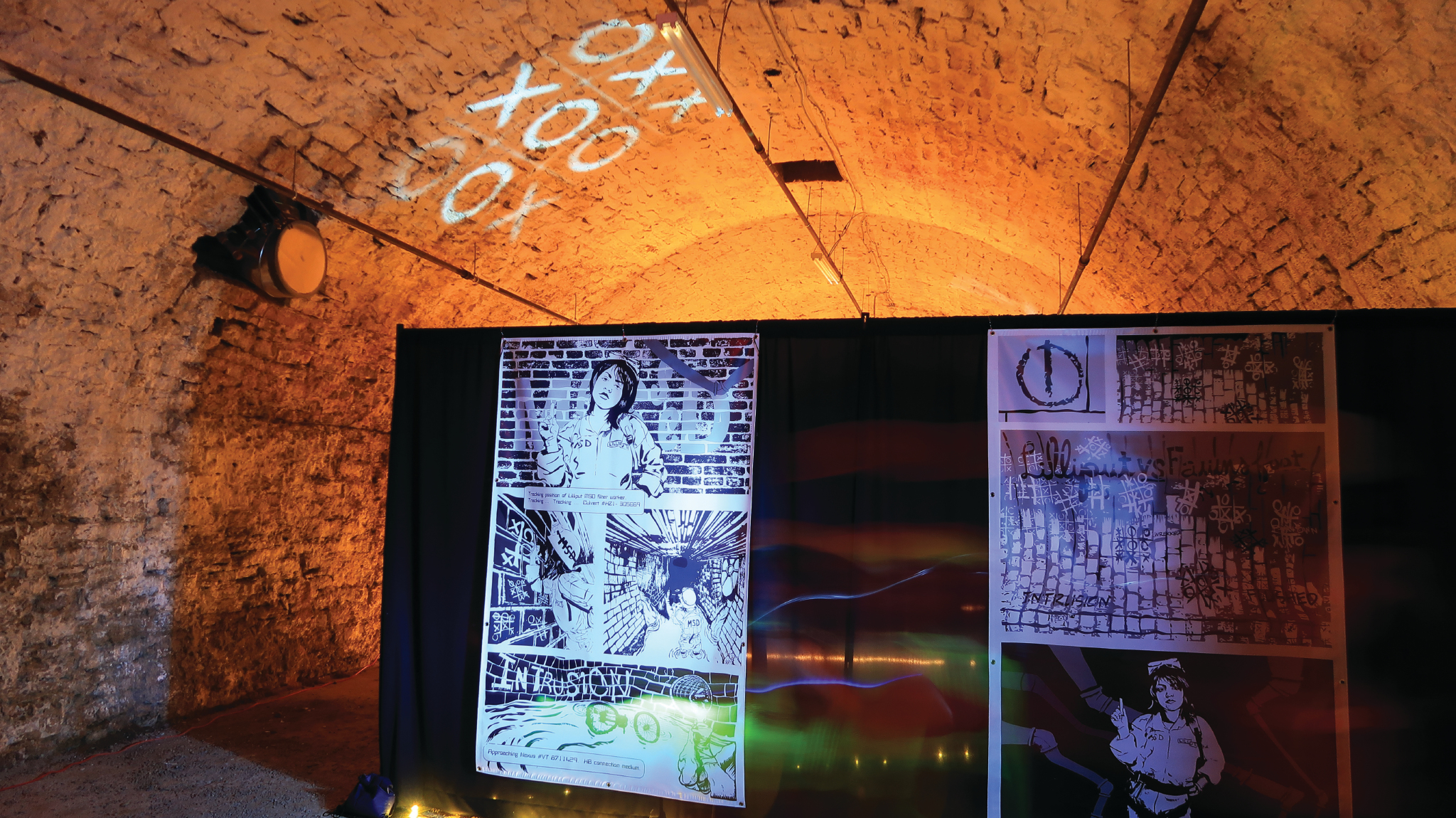 Here's a look at some of the life-sized pages of MeSseD in the underground tunnel tour.