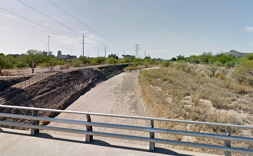 The Santa Cruz River in Tucson as it appears today on Google Street View.