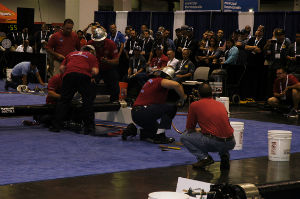 The Spotsylvania Pipe Tapping Team competes in Wednesday's Finals. The team finished 2nd overall with a time of 1:12.