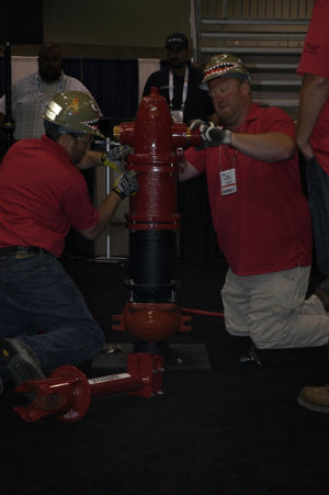 A team from Illinois competes in the Hydrant Hysteria demo competition.
